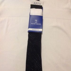 Apt 9 Owen Shimmer Tie with elegant Pocket Square